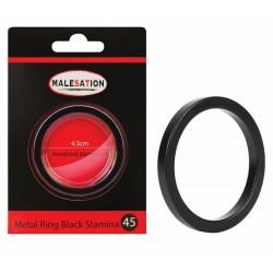 MALESATION Metal Ring Black Stamina 45
