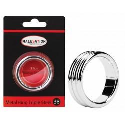 MALESATION Metal Ring Triple Steel 38