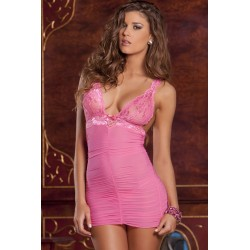 RENÉ ROFÉ Ruched Mesh & Lace Chemise & G String Set rose