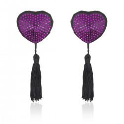 WOBO Caches seins cœur paillettes violet