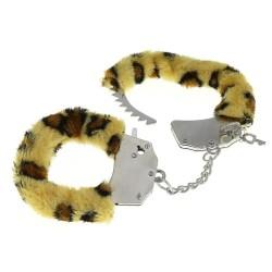 EASY BONDAGE Menottes en fourrure léopard
