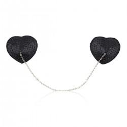BE HAPPY Caches-seins cœur paillettes noires et chaine