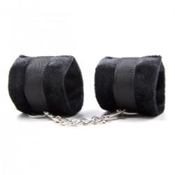 BE HAPPY Menottes poignets velours avec scratch - Noir