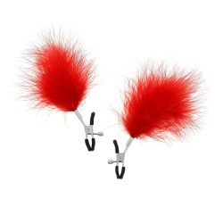 BE HAPPY Pinces à seins plumes rouges