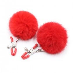 BE HAPPY Pinces à seins pompons rouges