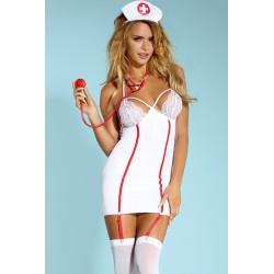 FANCY Costume infirmière robe moulante dentelle avec bas