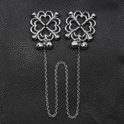 BE HAPPY Pinces à seins fleurs et clochettes metal