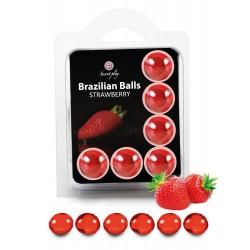 SECRET PLAY Brazilian Balls Fraise par 6