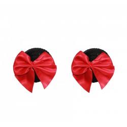 BE HAPPY Caches seins noeud rouge noirs à paillettes