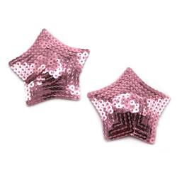 BE HAPPY Cache Tétons étoile paillettes roses